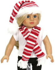 Red & White Santa Hat & Scarf for 18 inch American Girl Doll Clothes Accessories