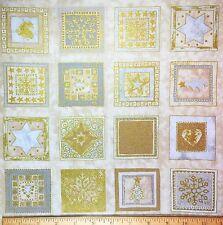 Gold Holiday Makower Fabric Square Metallic Stars Trees Snowflake Christmas RARE