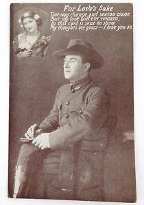 ".WW1 AUSTRALIAN A.I.F. PATRIOTIC UNUSED POSTCARD. ""FOR LOVES SAKE""."