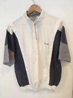 Mens Vintage 1980s Gallini Top Size L White/Blue SW3123