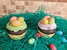 S/2 FAUX CUPCAKES EASTER DECOR EGGS SPRING ORNAMENT