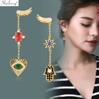 Colorful Crystal Heart Star Hamsa Hand Long Drop Dangle Earrings Gold Jewelry