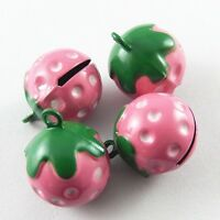 9pcs Pink&Green Color Brass Strawberry Bell Pendants  Craft Pet Bells 51925