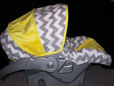 Gray Chevron Infant Carseat Cover - Choose your minky color
