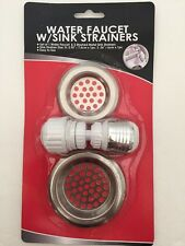 Water Faucet Adapter with 2 Mesh Sink Strainers -Connects to Hoses Too
