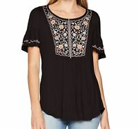 OneWorld Women's Top Black Size Small S Embroidered Short Sleeve Floral $38 #146