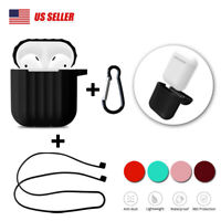 For Apple Airpods Silicone Case Cover Skin Accessories Anti Lost Strap Holder