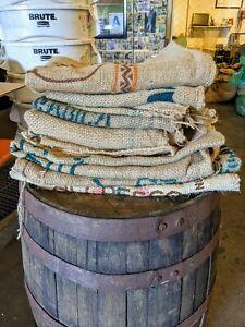 LOT OF 3 COFFEE BEAN BURLAP GUNNY BAGS SACKS, MULTIPLE COUNTRIES