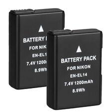 2 x Akku für Nikon EN-EL14 D3100 D3200 D3300 D5100 D5200 D5300 Echte 1200mAh