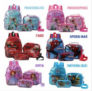 3pcs Set Paw Patrol Spiderman Unicorn Kids Backpack Lunch Bag Pencil Case Gift