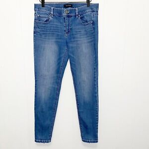 White House Black Market Medium Blue Wash Skinny Leg Ankle Sipper Jeans SZ 8