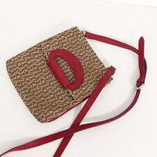 AIGNER Umhängetasche beige Print rot Leder Handtasche Damen Leather Bag