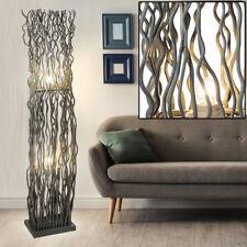 Design Steh Lampe grau Holz Stand Leuchte Wohn Schlaf Büro Zimmer Beleuchtung