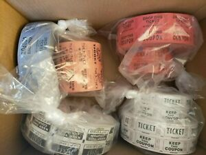Big Lot of Assorted Double Number Stub Raffle Tickets Rolls