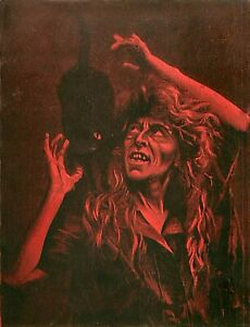 Raphael Tuck, The Sorcerer, Fine Art Print, Vintage Halloween, Witch & Black Cat