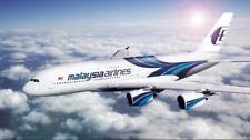 MALAYSIAN AIRLINES A380 LARGE  PLANE MODEL BOEING  AIRPLANE APX 45cm SOLID RESIN