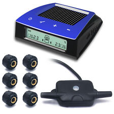 Solar Wireless TPMS Tire Pressure LCD Monitor System 6 Sensors for Car RV