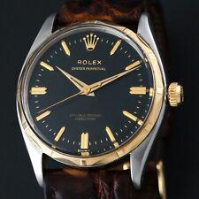 Rare 1956 Rolex 6566 Gold & Steel Gilt Black Dial Scalloped Bezel Man's Watch NR