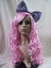 Light Pink Cosplay Doll Wig Bow Manga Comic Book Kawaii Anime Rave Party Cosplay