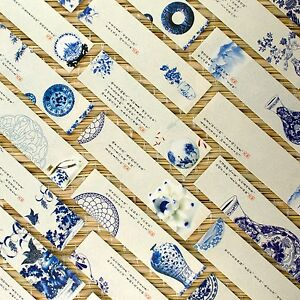 Pack of 30 bookmarks blue&white Chinese porcelain plates vases Ming poetry #0011
