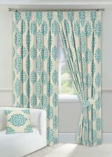 """One Pair of 90"""" x 90"""" Duck Egg Curtains Pencil Pleated Fully Lined + 2 Tiebacks"""