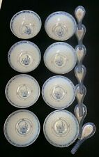 8 Chinese Soup Bowls with Spoons Porcelain & RICE EYE