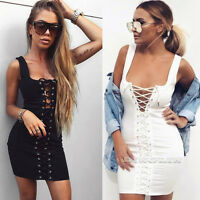 Womens Bodycon Bandage Lace Up Tie Sleeveless Evening Party Cocktail Mini Dress