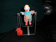 Vintage 1970s JAPAN T N TN Nomura Toys Key Wind-Up Toy Circus Clown on Trapeze