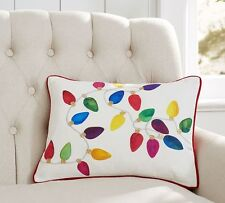 POTTERY BARN CHRISTMAS LIGHTS HOLIDAY PILLOW COVER  NEW