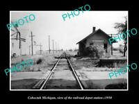 OLD LARGE HISTORIC PHOTO OF COHOCTAH MICHIGAN THE RAILROAD DEPOT STATION c1950