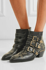 CHLOE $1,400 Susanna Black Leather Gold Studded Buckle Zip Ankle Boots 37/7