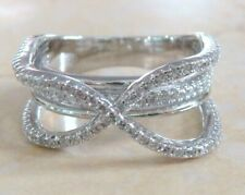 925 Sterling Silver Platinum Embraced Hugs & Love Band Ring Size 7