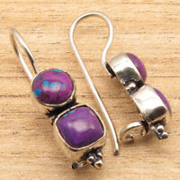 PURPLE COPPER TURQUOISE Gems New Hot Design Handmade Earrings 925 Silver Plated