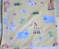 Circo Giraffe Elephant Frog Rabbit Hippo Polyester Plush Yellow Baby Blanket