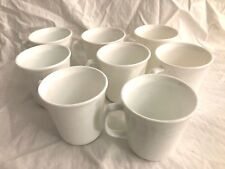 Eight Vintage Corning USA Coffee Cups~ Bright White~ Microwave Safe