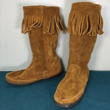 Used 1622 Minnetonka Brown Suede Fringe Mid Calf Womens Moccasin Boots sz 8