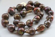 "Reborn Keshi Pearl Necklace 14k #f2429 17.5"" Genuine Natural 20mm Coffee Baroque"