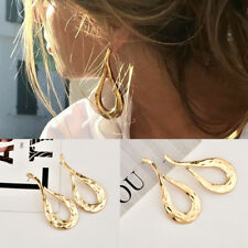 Exaggerated irregular lava metal Gold Plated Statement Big Drop Earring Ear Stud