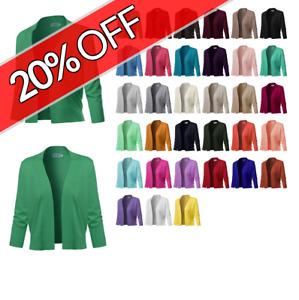 FashionOutfit Women's Solid Soft Stretch 3/4 Sleeve Layer Bolero Layer Cardigan