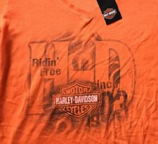 Harley Davidson Ridin' Free Bling V Neck Orange Shirt NWT Women's XL