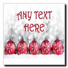 Red Baubles Christmas Personalised Drinks Mat Coaster