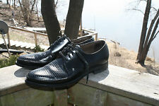 Vintage ROCKABILLY Perforated Black Leather Lace Ups Oxford Swing Shoes ~ Sz 8B