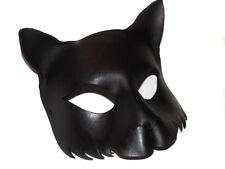 Midnight Cat Mask Handmade Leather Venetian Masquerade black