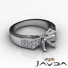 Brilliant Diamond Engagement Ring 18k White Gold Multi Shape Semi Mount 0.68Ct