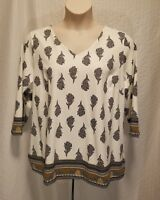 New CHARTER CLUB Women's Plus Size 2X 3/4 Sleeve V Neck White Paisley Top Blouse
