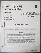 Orig MTD Products Power Vacuum Owners Manual/Parts List Models 244-670A 244-680A
