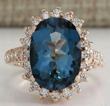8.34 Carat Natural Topaz 14K Rose Gold Diamond Ring