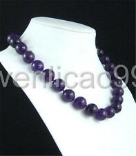 """10mm Russican Amethyst Round Beads Gemstone Necklace 18"""""""
