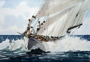 690 In the Solent - LARGE Sailing Yachting Seascape Ken Hayes
