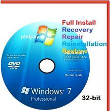Windows 7 Professional 32-Bit Bootable DVD SP1 FULL Install Repair Recovery UK
